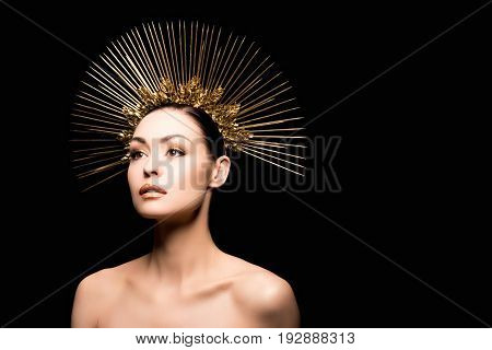Glamorous Naked Model Posing In Golden Headpiece Isolated On Black