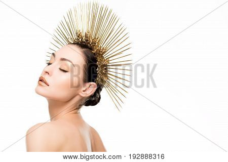 Sensual Naked Woman With Closed Eyes Wearing Golden Headpiece Isolated On White