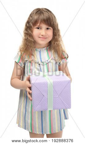 Cute funny girl with giftbox on white background