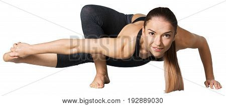Young woman doing yoga relaxation exercises yoga class activity