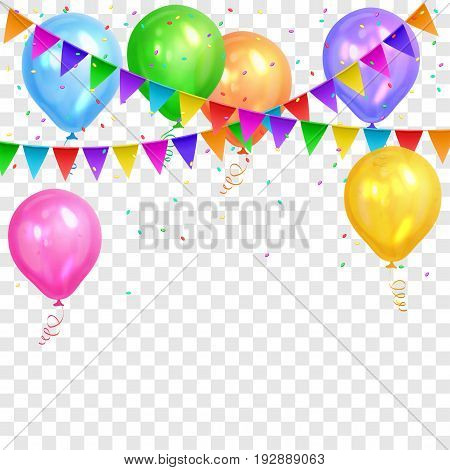 Border of realistic colorful helium balloons and flags garlands isolated on transparent background. Party decoration frame for birthday anniversary celebration. Vector illustration