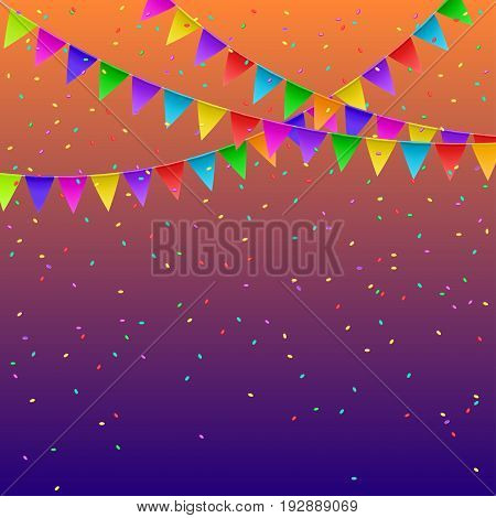 Colorful flags garlands on gradient background. Party decoration frame for birthday carnival celebration. Vector illustration