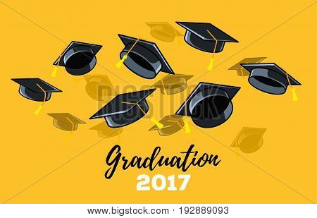 Vector Illustration Of Black Graduate Caps On A Yellow Background. Caps Thrown Up. Congratulation Gr