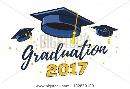 Vector Illustration Of Black Graduate Caps With Confetti On A White Background. Congratulation Gradu