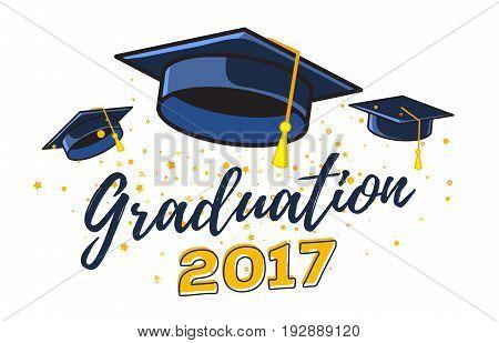 Vector Illustration Of Black Graduate Caps With Confetti On A White Background. Congratulation Gradu