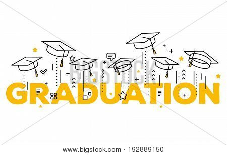 Vector Illustration Of Word Graduation With Graduate Caps On A White Background. Caps Thrown Up. Con