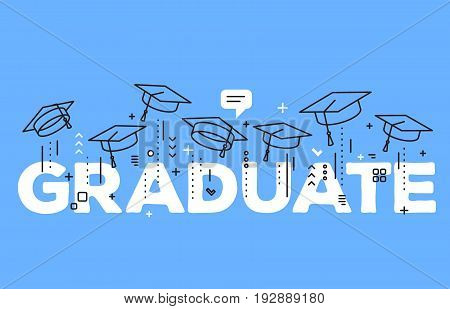 Vector Illustration Of Word Graduation With Graduate Caps On A Blue Background. Caps Thrown Up. Cong