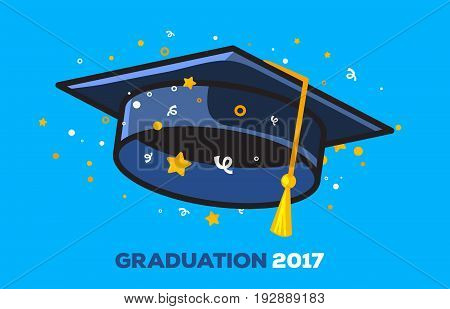Vector Illustration Of A Black Graduate Cap With Confetti On A Blue Background. Congratulation Gradu