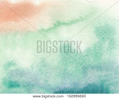 watercolor background in green tones and wet grunge textures background