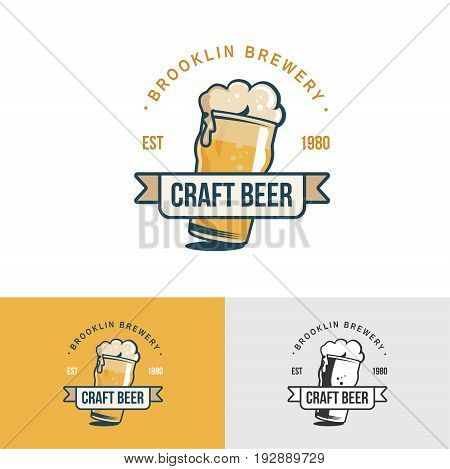 Original vintage craft beer logo. Template for beer house, bar, pub, brewing company, brewery, tavern, taproom, alehouse, dram shop