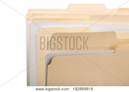 Document folders manila yellow white background object