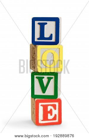 Love wooden stack wood blocks word game