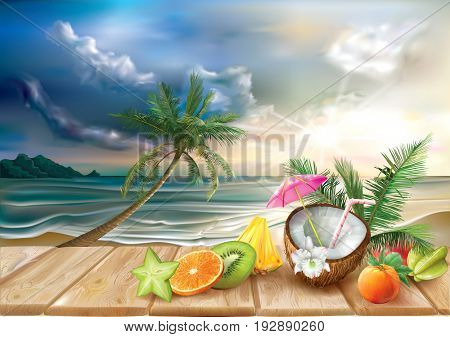 Coconut cocktail and tropical fruits on a sea beach background. Vector illustration