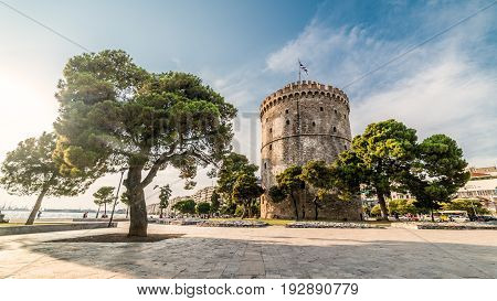 White Tower of Thessaloniki on a Sunny Day, Greece