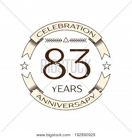 Realistic eighty three years anniversary celebration logo with ring and ribbon on white background. Vector template for your design