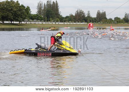 Nakhon nayokThailand - 25 June 2017: Guard on the speed boat at in Challenge Nakhon Nayok 2017