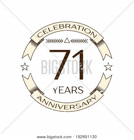 Realistic seventy one years anniversary celebration logo with ring and ribbon on white background. Vector template for your design