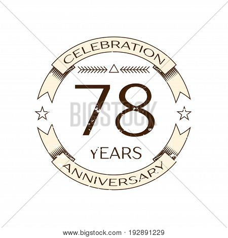 Realistic seventy eight years anniversary celebration logo with ring and ribbon on white background. Vector template for your design