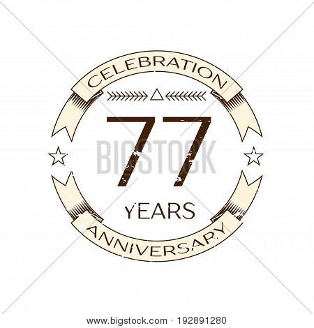 Realistic seventy seven years anniversary celebration logo with ring and ribbon on white background. Vector template for your design