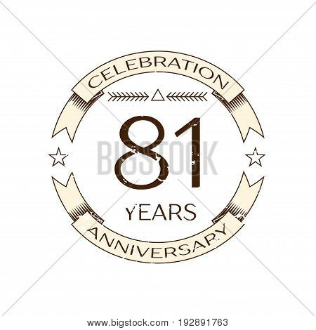 Realistic eighty one years anniversary celebration logo with ring and ribbon on white background. Vector template for your design
