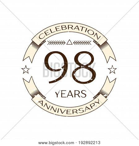 Realistic ninety eight years anniversary celebration logo with ring and ribbon on white background. Vector template for your design