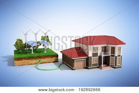 The Concept Of Ecologically Clean Energy The House Is Connected To Solar Panels  3D Render On Blue