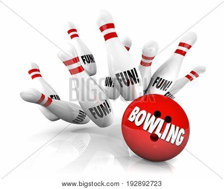 Bowling Ball Strikes Pins Fun Game Playing 3d Illustration