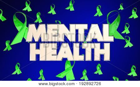 Mental Health Illness Awareness Ribbons 3d Illustration