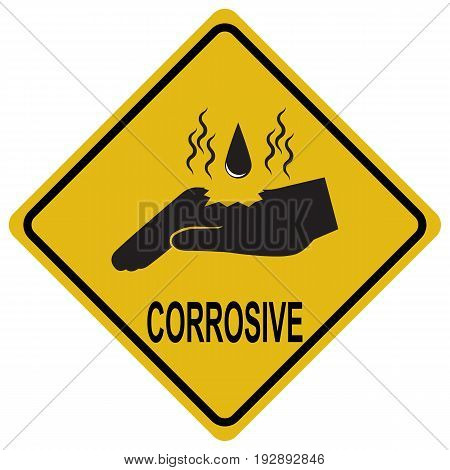 Hand corrosive warning sign safety concept illustration