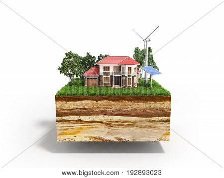 House On A Clutch Of Land Concept Of Ecologically Clean House 3D Render On White