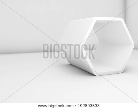 White Hexagonal Installation In Empty Room, 3D