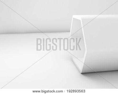 White Hexagonal Installation In Blank Room