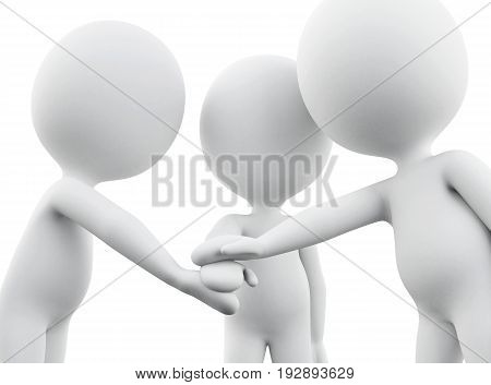 3D White People Joining Hands
