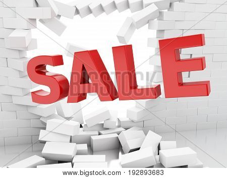 3D Sale Sign And Brick Wall