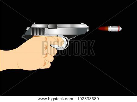 Hand with gun and flying bullet on black background