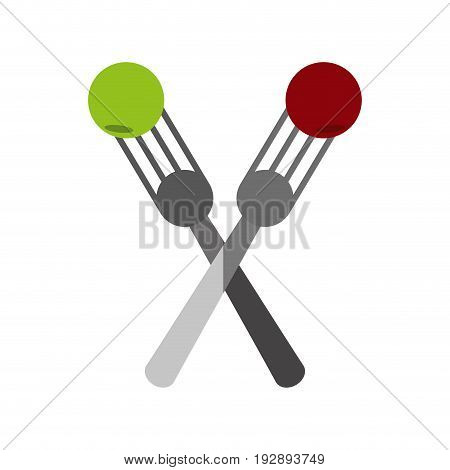 crossed forks with food icon image vector illustration design