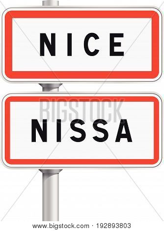Vector illustration of Nice road signs entrance with the Occitan traduction Nissa