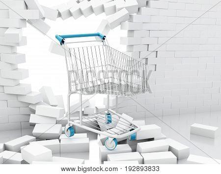 3D Shopping Cart Breaking Through A Brick Wall