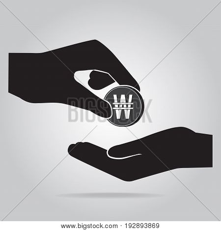 Coin in hand icon. KRW currency sign. Exchange or Donate concept