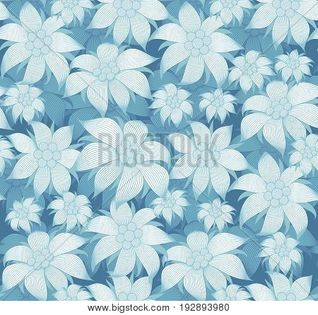 Seamless floral pattern. On a blue background there are blue flowers of edelweiss, a water lily, a lotus. For postcard, invitations, textiles, clothes, wrapping paper, paperhanging, interior design of the room.