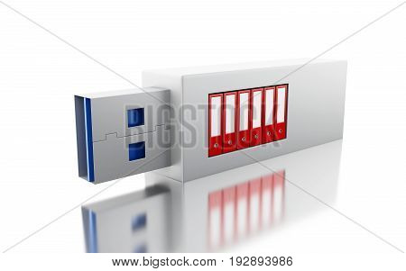 3D Usb Drive With Data Folders