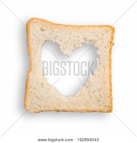 Shape heart bread toast toasted white amber