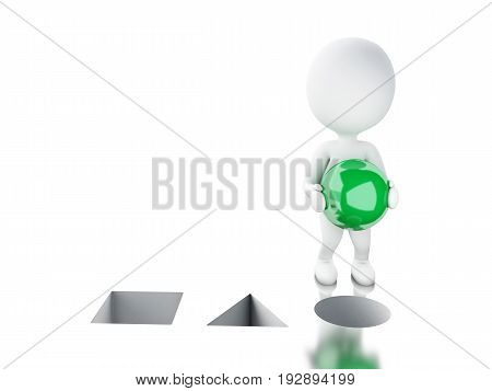 3D White People Putting Green Sphere In The Right Hole.