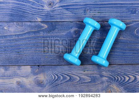 Barbell On Blue Vintage Wooden, Training Concept