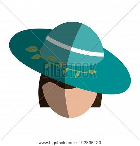 head of faceless woman wearing elegant embellished hat with leaves icon image vector illustration design