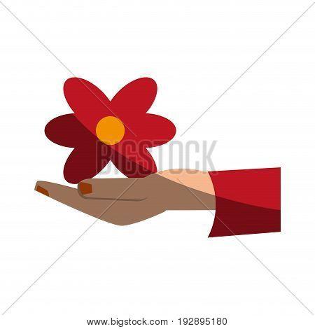 hand holding flower icon image vector illustration design