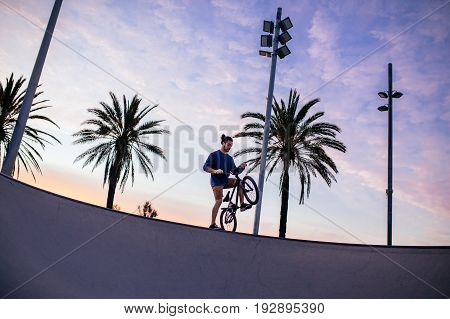 Man driving a bmx in a skate park.