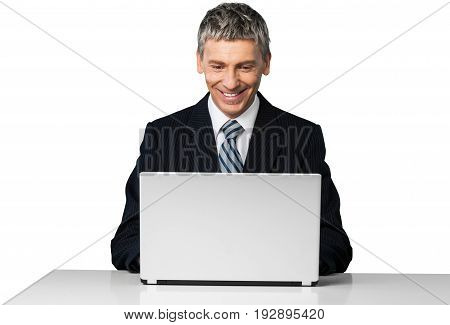 Business man working laptop businessman middle aged arms outstretched