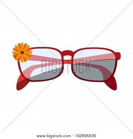 glasses with small flower on frame icon image vector illustration design