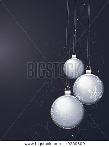 Silver Christmas Ornaments on Dark Background